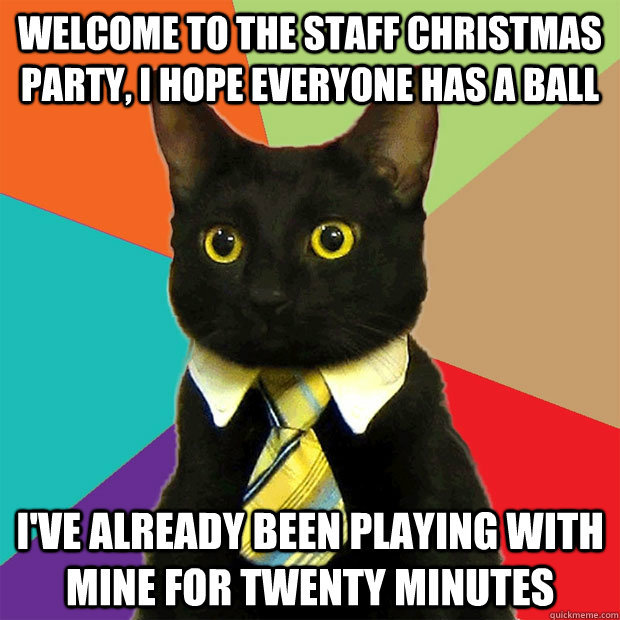 Christmas Party Meme.Welcome To The Staff Christmas Party Cat Meme Cat Planet