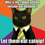 Why Is The Rabble Yelling Outside Cat Meme